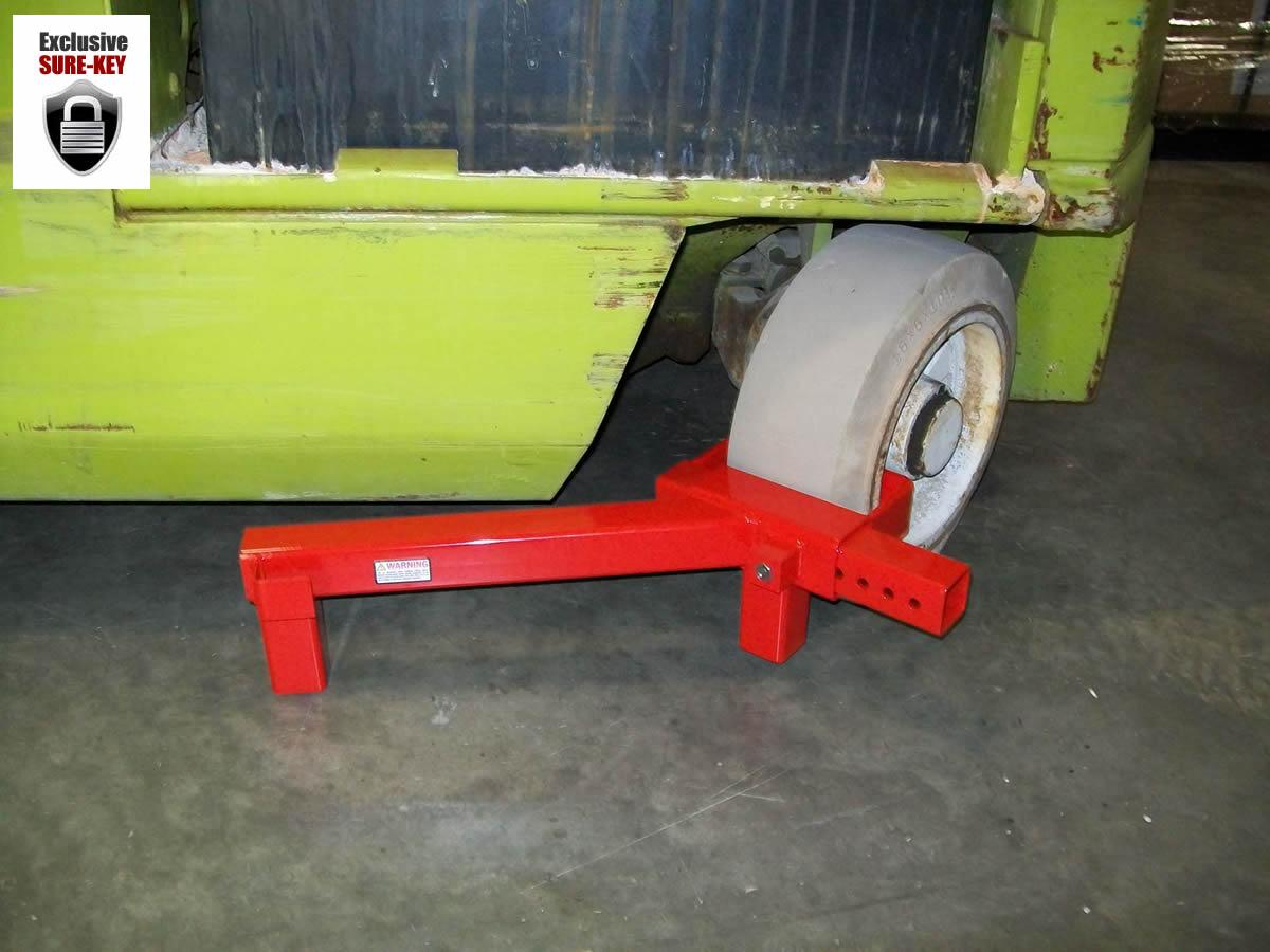 Fork lift tire lock with SURE-KEY