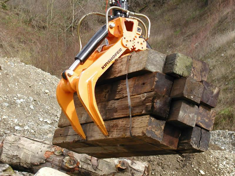 Kinshofer KM632Rc Railroad Grapple can handle railroad tie bundles