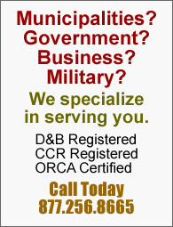 CCR registered and specializing in government and US military sales